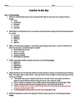 Catcher in the Rye Analysis Quiz Ch. 15-26
