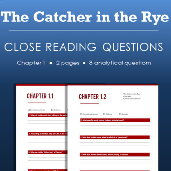 Catcher in the Rye - Chapter 1 Close Reading Handout with Questions
