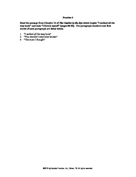 Catcher in the Rye Chapter 13 English skills worksheet by