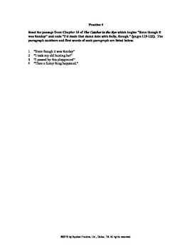 Catcher in the Rye Chapter 16 English skills worksheet by