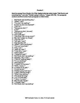 Catcher in the Rye Chapter 22 English skills worksheet by