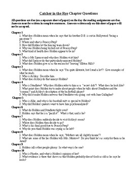 Catcher in the Rye Chapter Response Questions