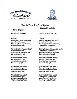 Catcher in the Rye Coming Through the Rye Lyrics