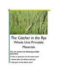 Catcher in the Rye Printables - Chapter Worksheets, Test Review,Test (+Test Key)