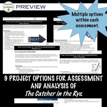 The Catcher in the Rye Project Choice of 9 plus EDITABLE rubric