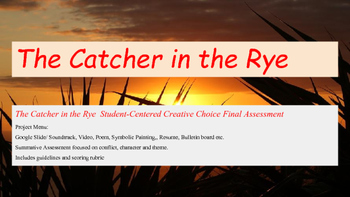 Catcher in the Rye Project Menu with Rubrics