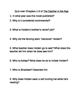 Catcher in the Rye Quiz Chapters 1-3