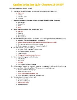 Catcher in the Rye Quiz Chapters 16-19