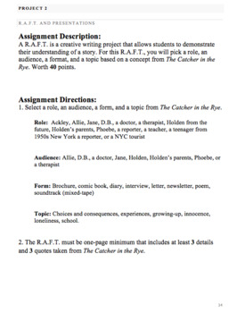 Catcher in the Rye: Reading Guide, Vocabulary Lists, Projects, and Essay