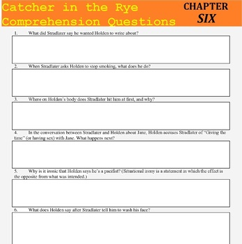 Catcher in the Rye (Salinger) Reading Guide, Comprehension Questions