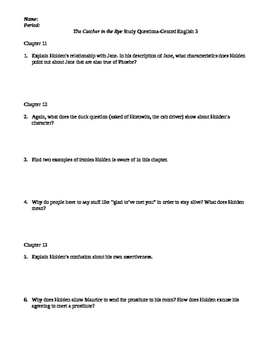 Catcher in the Rye Study Guide Chapters 10-20
