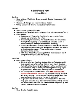 Catcher in the Rye Unit Lesson Plans