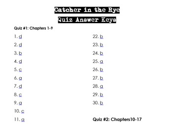 Catcher in the Rye Unit Quiz Bundle (3 Quizzes + Answer Key)