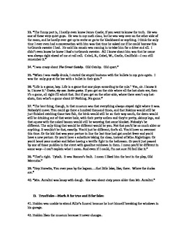 Catcher in the Rye Unit Test with Answer Key