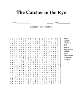 Catcher in the Rye Word Search