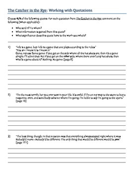 Catcher in the Rye - Working with Quotations Activity