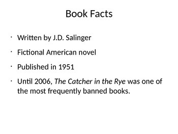 Catcher in the Rye introductory powerpoint presentation