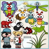 Catching Bugs Clip Art - Insects Clip Art - CU Clip Art & B&W