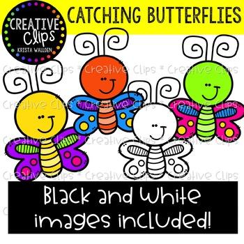 Catching Butterflies Clipart {Creative Clips Clipart}