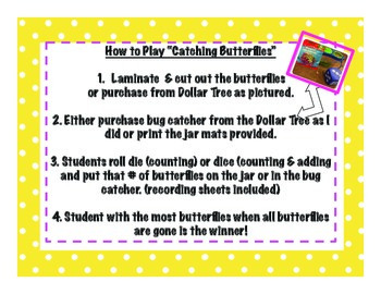 Catching Butterflies Math Centers: Dollar Tree Inspired
