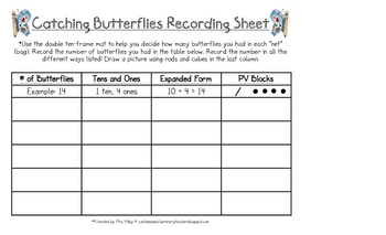 Catching Butterflies - Using 10 Frames and Making Numbers