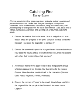 catching fire essay exam by vickie mansour teachers pay teachers