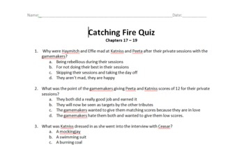 Catching Fire (Hunger Games Series) Quiz Over Chapters 17-19
