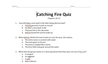 Catching Fire (Hunger Games Series) Quiz Over Chapters 20-22