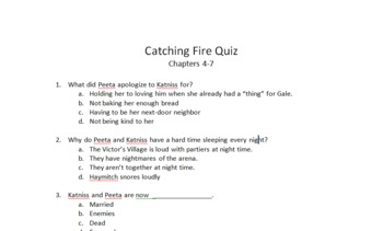 Catching Fire (Hunger Games Series) Quiz Over Chapters 4-7