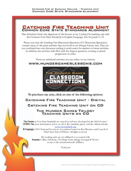 Catching Fire Teaching Unit Common Core Standards Alignment FREE