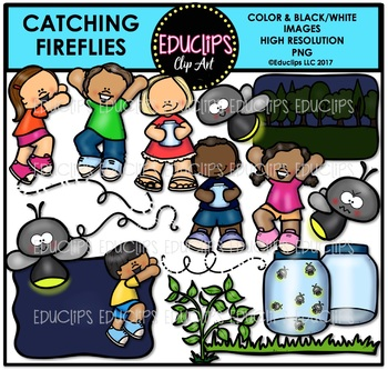 Catching Fireflies Clip Art Bundle {Educlips Clipart}