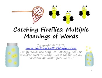 Catching Fireflies Multiple Meanings of Words FREEBIE