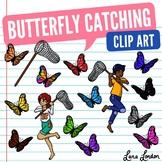 Catching Rainbow Butterflies Clip Art