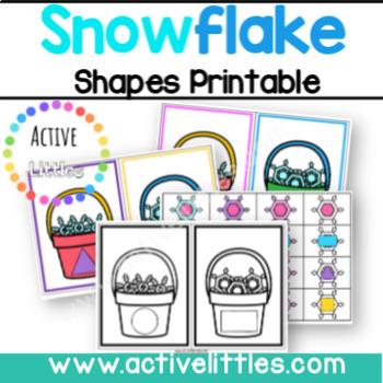 Catching Snowflake Shape Match Preschool Printable