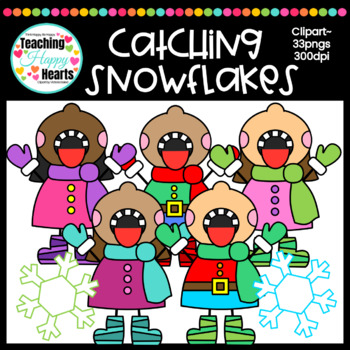 Catching Snowflakes Clipart