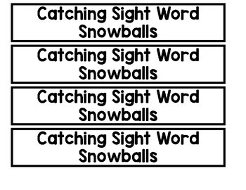 Catching Snowflakes Snowballs Winter Craftivity Addition Subtraction Sight Words