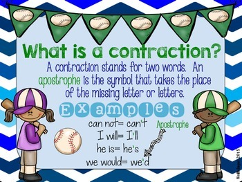 Catchy Contractions Match Up- Baseball Themed