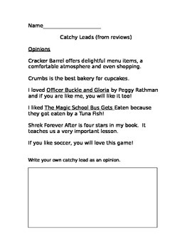 Catchy Leads - Opinion, Question,  (Maisa Review Writing)