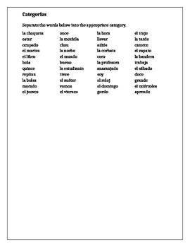 Categorias Spanish II Review worksheet