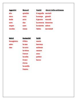 Categorie Italian II Review worksheet