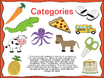 Categories for Speech-Language Therapy