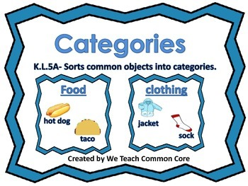 Categories-Classifying and Sorting Objects Literacy Word Work Daily 5 Station