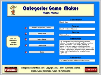 Sample Game (Jeopardy Type Game) - Categories Game Maker