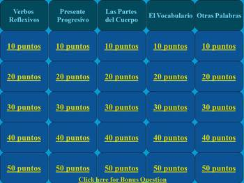 Categories Game Spanish Reflexives and Present Progressive