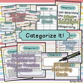 Main Idea: Categorize It! Game & Task Cards