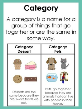 Categories Mini Lesson with Visuals and Practice Sheets