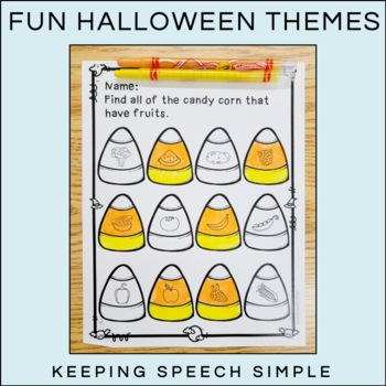 Categories No Prep Worksheets - Halloween themed by Keeping Speech ...