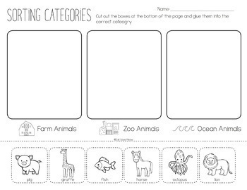 Categories No Prep Worksheets (What doesn't belong, Naming, etc.)