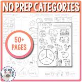 Categories No Prep Worksheets (What doesn't belong, Naming, etc.)