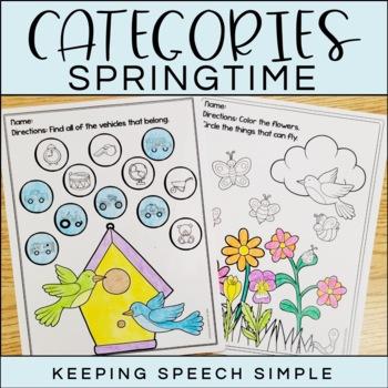 Categories No Prep Worksheets - Spring themed